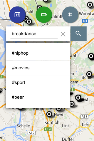 MapTiming filtering by hashtags